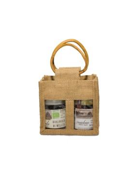 Elegante regalo aziendale: Portavasetti in Juta con Miele Biologico Italiano Sant'Agata