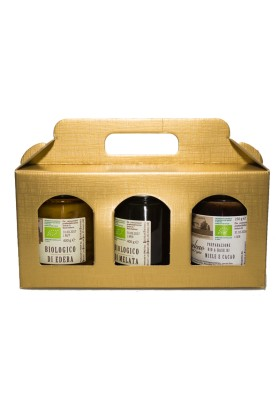 Elegante regalo aziendale: Portavasetti in Cartone con Miele Biologico Italiano Sant'Agata